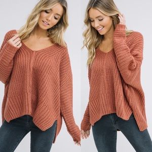 ADALINE Knit Sweater - BRICK